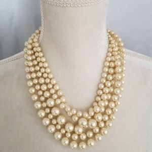 JCrew Chunky Multi Strand Faux Pearl Necklace